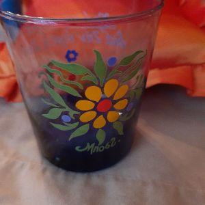 Ποτήρι ζωγραφισμένο στο χέρι. Μποστ.
