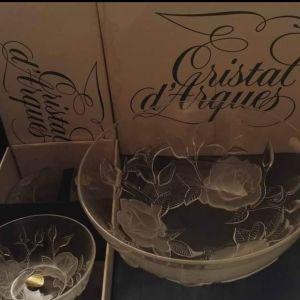"""Σετ φρουτοσαλατας/ παγωτού Cristal D'arques """" Lucia"""" France 1970"""