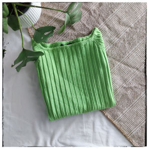 [ PULLOVER ] Neon Green off shoulder Pullover Blouse