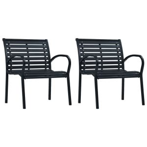 vidaXL Καρέκλες Κήπου 2 τεμ. Μαύρες από Ατσάλι / WPC-47939