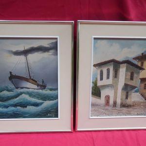 Δύο έργα ζωγραφικής ελαιογραφία σε μουσαμά σε μεταλλικές κορνίζες.