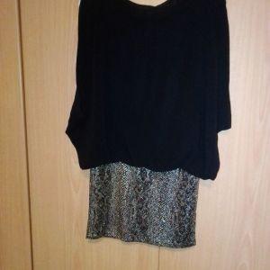 Φόρεμα μαύρο νεανικό μουσελίνα πάνω κάτω animal print ελαστικό