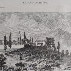 1860 Μοναστήρι Αγίων Ασωμάτων κοντά στην Αθήνα  ξυλογραφία