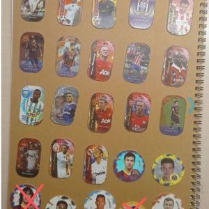18 μεταλλικές τάπες ποδοσφαίρου + 5 τάπες ποδοσφαίρου cheetos