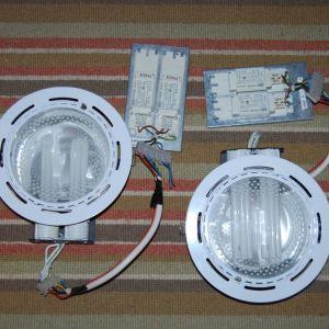 2 Φωτιστικά Χωνευτά Φ23 Γυψοσανίδας, Ξύλου, PLC με 2 Λάμπες το καθένα