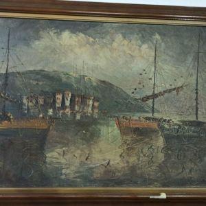 Παλιά ελαιογραφία με καράβια
