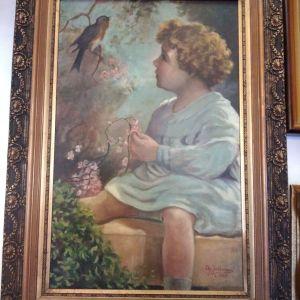 πίνακας ζωγραφικής ελαιογραφία σε καμβά με διαστάσεις 89 Χ 62 εκατοστά και καθαρές διαστάσεις 69 Χ 44 εκατοστά