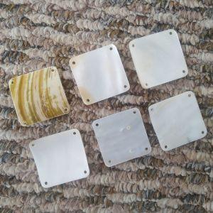 6 Τετράγωνες Διακοσμητικες Χάντρες MOP