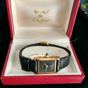 Cartier Tank Watch All Black γυναικείο - ρολόι χρυσό με ζαφείρι Κεϋλάνης