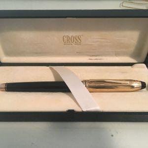 Πένα Cross Townsend Vintage Fountain Pen χρυσή με μαύρη λάκα (από αρχική τιμή λιανικής €300)