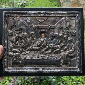 Χειροποίητη Ιερή εικόνα από καθαρό ασήμι-Βυζαντινής Τέχνης
