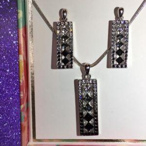 Σετ κοσμημάτων: κολιέ & σκουλαρίκια ασημένια με διαμαντάκια πάνω