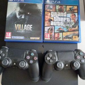 PS4 SLIM 1TB 2 χειριστήρια +GTA 5 + RE VILLAGE