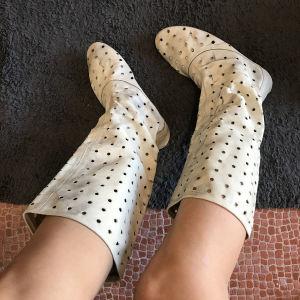 Λευκές Δερμάτινες μπότες