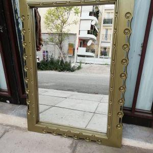 Καθρέφτης  από σκαλιστό ξύλο, λάδι χρώμα 80x60