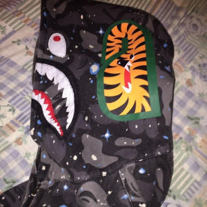 Bape space camo shark full zip hoodie glow in the dark