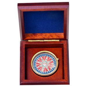 Χειροποίητη Πυξίδα Χρυσή αποσπώμενη σε ξύλινο κουτί 10cm Handmade Gold Compass
