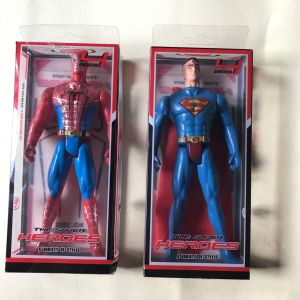 Action figures με τον Spiderman και τον Superman, 1990 vintage, με φωτεινό στήθος