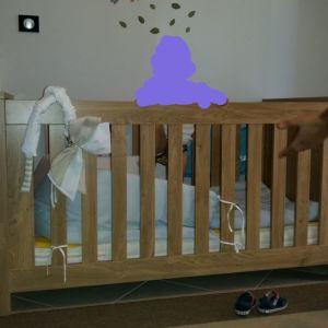 Βρεφικό κρεβάτι,συρταριερα, ράφι και στρώμα latex