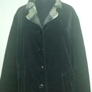 Salvatore Ferragamo μαύρο κοτλέ μπουφάν σακάκι με καρό επένδυση