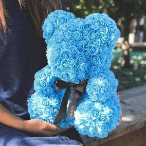 Αρκουδάκι από τεχνητά τριαντάφυλλα γαλάζιο - 35 εκ.