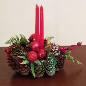 Χριστουγεννιάτικο επιτραπέζιο χειροποίητο διακοσμητικό με διπλό κεράκι