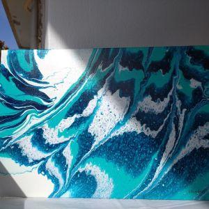 Αυθεντικος πινακας ζωγραφικης σε τελαρο,40/60εκ.Ακρυλικα χρωματα περασμενος με βερνικι. Δικο μου δημιουργημα!Αφηρημενη τεχνη