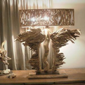 """Φωτιστικο απο ξύλα θαλασσης """"φτερα του φωτός"""""""