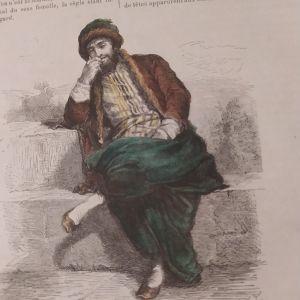 Εβραίος της Θεσσαλονίκης επιχρωματισμενη ξυλογραφία