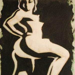 ασπρο μαυρο λαδι σε τελαρο 50χ70 . ζωγραφος αντωνης στεφανακος