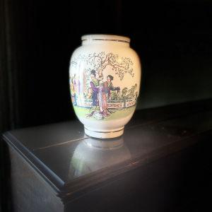Vintage Μεγάλο Βάζο με Γκέισες Φιγούρες