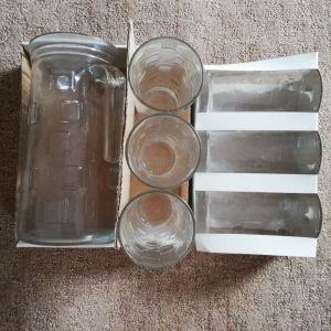 Γυάλινη κανάτα με ποτήρια