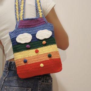 handmade crochet rainbow bag