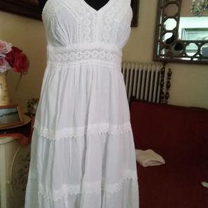 λευκό βαμβακερό φόρεμα μια φορά φορεμένο L XL