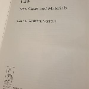 Personal Property Law text ans materials SARAH WORTHINGTON