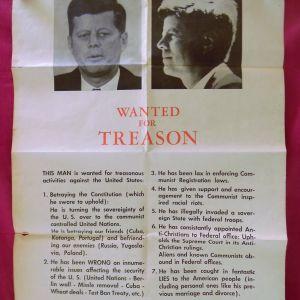 """""""KENNEDY WANTED FOR TREASON"""" ΣΠΑΝΙΑ ΣΥΛΛΕΚΤΙΚΗ ΑΦΙΣΑ ΤΟΥ 1963."""