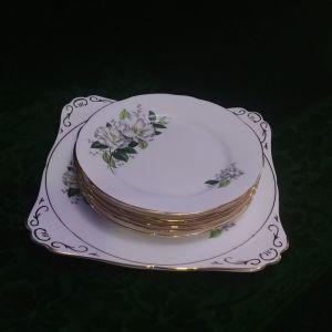 """Σετ πάστας 7 τεμάχια Royal Stafford """"Camellia"""", πορσελάνη Αγγλίας bone china 1950."""