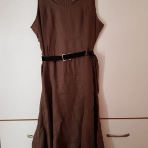 Ysatis καφε λινό φόρεμα νο 4