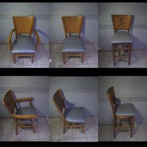 Πωλούνται ξύλινα καθίσματα για επαγγελματικό χώρο.