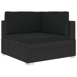 vidaXL Γωνιακό Κάθισμα Τμηματικό 1 τεμ. Μαύρο Συνθ. Ρατάν + Μαξιλάρια-46800