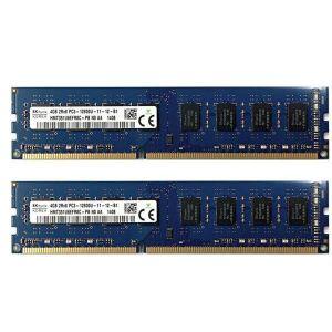 SK Hynix HMT351U6EFR8C-PB - 2 x 4GB DDR3-1600 UDIMM PC3-12800U (800Mhz) Dual Rank x8 Module 1.5V
