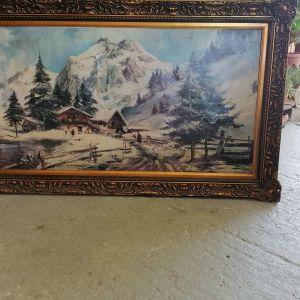 Παλιο ανάγλυφο κάδρο με ζωγραφιά