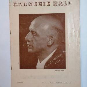 ΜΗΤΡΟΠΟΥΛΟΣ ΔΗΜΗΤΡΗΣ - CARNEGIE HALL 1953 πρόγραμμα συναυλιών