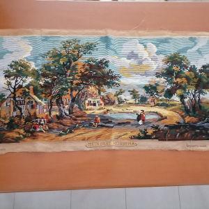 εργόχειρο κομπλεν για πίνακα τοίχου μακρόστενο σε διαστάσεις 1.10 cm. X. 0.50.cm