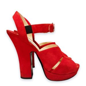 Sale from 430€ - 240€ Prada Red Suede Leather Sandals