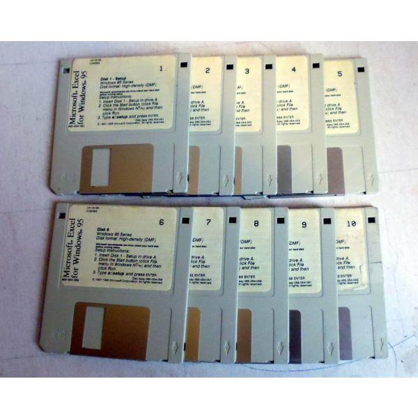 MS EXCEL for Windows 95 plires 10 disketes 1.44 mv