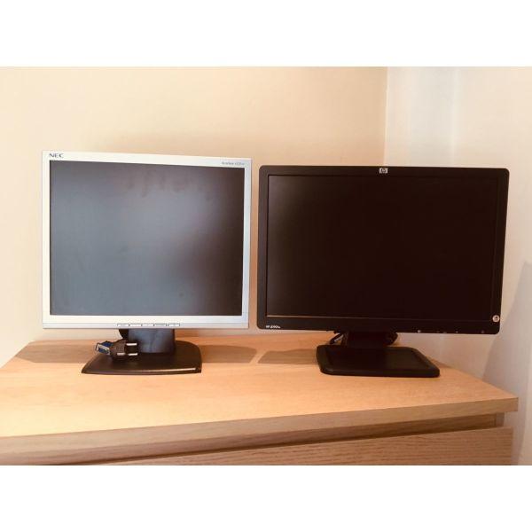 MONITOR /  othones LCD NEC AccuSync 17 & HP 19 WIDE SCREEN / PC / COMPUTER / DESKTOP / ilektronikos ipologistis/ periferiaka analosima axesouar ipologisti antallaktika
