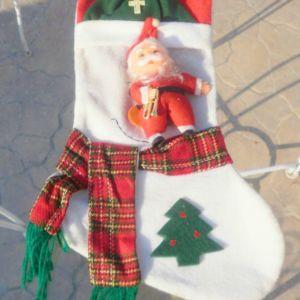 Χριστουγεννιάτικη από τσόχα, διακοσμητική μπότα τοίχου ή πόρτας, ύψους 50εκ για γούρι, πανέμορφο, με τον Άγιο Βασίλη μαζί