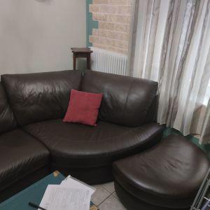 Καναπές δερμάτινος με σκαμπό