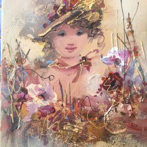 Η κοπέλα με τα λουλούδια - 30χ40εκ καμβάς σε τελάρο της Μουρατίδου Φωτεινής